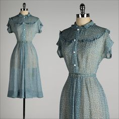 vintage 1940s dress . sheer blue chiffon . by millstreetvintage, $65.00