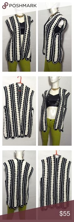 "OMG AWesome Handmade VTG Crochet Vest Unisex Boho The most awesome vtg Hippie handmade granny vest w scallop hem! Vest is open, knit w acrylic black and white yarn in a striped pattern - Amazing piece for guys or girls! True vintage treasure - looks fantastic w just about anything!! Perfect for costumes, photo shoot, gift for ur hunky hunny, vintage clothes lovers, bloggers, fashionistas, hippie child, boho babes, gypsy queens, etc XoXO Measures laid flat- Shoulder to shoulder: 18"" Underarm…"
