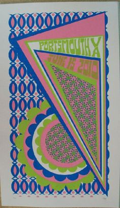 Original silkscreen concert poster Phish in Virginia in 2010. 10 x 21 inches. It is printed on Watercolor Paper with Acrylic Inks. The poster is signed and numbered out of 65 by the artist Tripp.