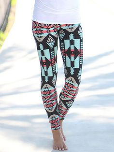 Ethnic Geometric Print Stretchy Skinny Print Leggings