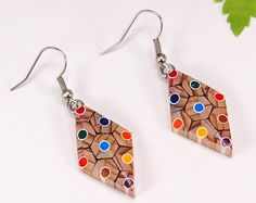 Earrings from colored pencils Armenian gifts Armenian Recycled Jewelry, Wooden Jewelry, Resin Jewelry, Jewelry Crafts, Resin Crafts, Resin Art, Coconut Shell Crafts, Plaster Art, Homemade Jewelry