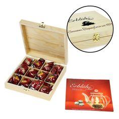Der Erblühtee in edler Holzbox mit Gravur - Weißer Tee ist ein besonderes Geschenk für alle Teeliebhaber.