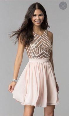 45ff91967a5 Shop rose gold sequin-bodice homecoming dresses at Simply Dresses. Sequin- print racerback semi-formal dresses and short pink party dresses with cut  outs and ...
