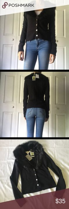 """Anthropologie Fur Cardigan NEVER WORN Anthropologie fur cardigan. Very comfortable and very cute. Model is 5'5"""" and weights 97 pounds. Anthropologie Sweaters V-Necks"""