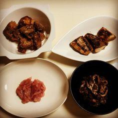 ブリの竜田揚げ ブリの幽庵焼き ブリの刺身 イカの肝煮