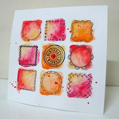 handmade greeting card by Janet Ribet: Frames 4 . grid of orange & pink watercolor blobs stamped with inchie line art framing . Watercolor Projects, Watercolor Cards, Watercolor And Ink, Watercolor Paintings, Watercolours, Happy Paintings, Card Making Inspiration, Art Journal Pages, Paper Cards