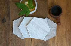 Sale Hexagon Marble Coasters. Set of 4. Wooden by MeAConcrete