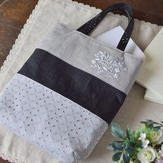 Simple bag of monotone. . . . ちょっと渋め? モノトーンのシンプルバッグ。 #バッグ #刺繍 #handmade #embroidery #bag
