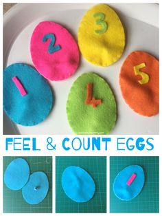 Feel & Count Felt Eggs Make these cute felt eggs to feel and count with while learning mathematical concepts too!