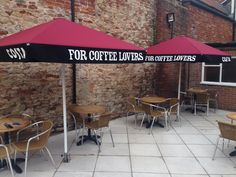 Costa Parasols - Here at Shades of Comfort we specialise in outdoor furniture for companies, including giant umbrellas, terrace screens and much more. Costa Coffee, Coffee Branding, Terrace, Shades, Patio, Outdoor Decor, Balcony, Costa Cafe, Sunnies
