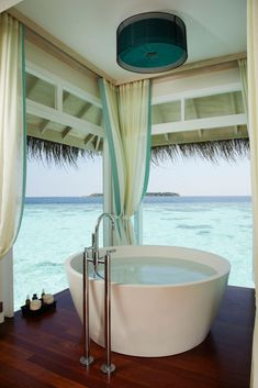 View x Bath {Anantara Kihavah Villas in Maldives}