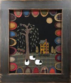 PATRÓN para © bajo la sombra de los sauces - un WOOLSCAPE apliques de lana sinceras expresiones de Jane Currie-Wile  Suave pie de oveja a la sombra de un majestuoso árbol de sauce... árboles de manzana madura y un alto Saltbox elegante casa - todo rodeado de arco iris de color... esta Woolscape hermosa será el punto focal en cualquier habitación cuelga dentro. Creado con las lanas cortadas a mano y cosida a mano - se trata de una pieza de reliquia en las generaciones venideras.  Woolscape…