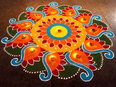 Latest Beautiful Rangoli Design With Dots - Rangoli Designs Simple Diwali, Diwali Special Rangoli Design, Indian Rangoli Designs, Rangoli Designs Latest, Rangoli Designs Flower, Free Hand Rangoli Design, Rangoli Ideas, Rangoli Designs With Dots, Kolam Rangoli