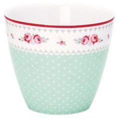 GreenGate Stoneware Latte Cup Sandy Dark Mint Height H9 cm