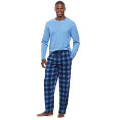 Men's Chaps Henley & Plaid Microfleece Lounge Pants Set, Size: Medium, Blue