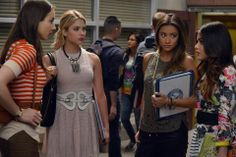 Hanna Marin wore a BCBGMAXAZRIA Cassandra Eyelet Dress on Pretty Little Liars. Shop it: http://www.pradux.com/bcbgmaxazria-cassandra-sleeveless-a-line-eyelet-dress-30785?q=s15