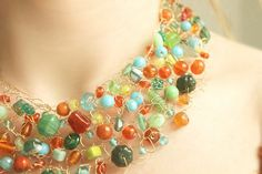 Beadwork Necklace Knit Wire Jewelry Beaded Statement by NaiveChic, $72.00