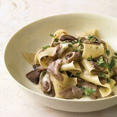 Mushroom Pappardelle with Taleggio Cheese. Pungent Taleggio cheese makes a creamy coating for this decadent dish when tossed with warm mushrooms and pasta. You can also use brie, which is milder in flavor. Oyster Mushroom Recipe, Mushroom Recipes, Taleggio Cheese, Goat Cheese, Cheese Food, Pasta Recipes, Cooking Recipes, Chicken Recipes, Cooking Ribs