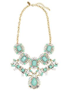 Turquoise Tiered Statement Necklace by Cara Couture Jewelry at Gilt