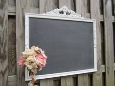 "ANTIQUE CHALK BOARD Decorative Framed Chalkboard Menu White 32""x29"" Black board Vintage Winter Wedding Cottage Blackboard Nursery Decor"