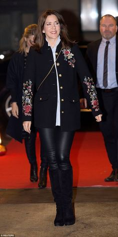 Crown Princess Mary arrived at the Vega concert venue to commemorate International Women's Day in Copenhagen, Denmark, in a trendy outfit on Tuesday night