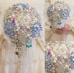 A cascading brooch bouquet. Visit www.thelovebucket.co.za or find The Love Bucket on Etsy! #thelovebucket #broochbouquet #foreverbouquet #blingbouquet #broochweddingbouquet #diamondwedding Bling Bouquet, Wedding Brooch Bouquets, Sequin Skirt, Bucket, Sequins, Etsy, Fashion, Moda, Fashion Styles