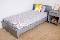 painted IKEA Malm bed.