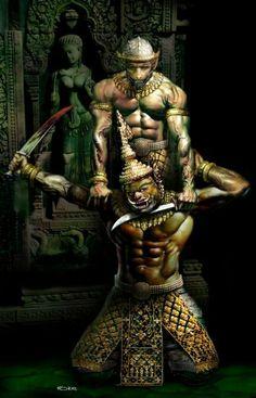 Hanuman Tattoo, Khmer Tattoo, Cambodian Art, Buddha Drawing, Muay Boran, Angkor Wat Cambodia, Indonesian Art, Samurai Tattoo, Thai Art