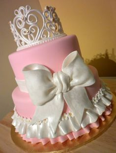 Princess Cake For A Baby Girl Princess! Baby Shower Cakes, Pink Cakes, Bow