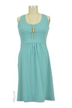 Avery Organic Cotton Scoop Neck Nursing Dress in Nile Blue