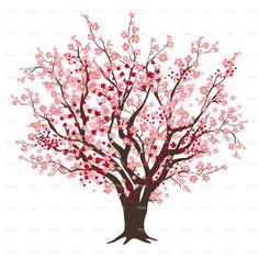 Flor de cereja rosa e vermelho árvore em pleno Bloom                                                                                                                                                                                 Mais