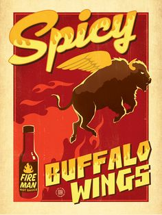 Spicy Buffalo Wings - Real men love spicy food. And animal parts that make no sense. Do buffaloes have wings? They do if you are watching the game with your bros! Decorate with this delicous-looking print, in honor of your favorite Wing Man.