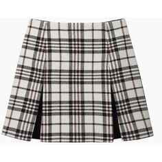 Carven Tartan Wool Mini (2 245 SEK) ❤ liked on Polyvore featuring skirts, mini skirts, bottoms, saias, faldas, box pleat skirt, short pleated skirt, mini skirt, wool mini skirt and short mini skirts