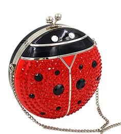 Marchome Acrylic Butterfly Ladybug Shape Evening Bags Clutch Purses with Chain (Ladybug)