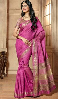 Define gorgeousness with this rose pink color shade tussar silk sari. The charming lace and resham work a considerable attribute of this attire. #sarees #onlinesaris #fancysari