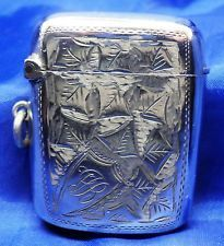 SOLID SILVER EDWARDIAN CURVED VESTA CASE BY LEWIS HART B'HAM 1908 ~ WEIGHT 19.2g