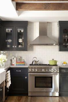 Eclectic L Shaped White Kitchen Black Cabinets Elizabeth Brooke Design And Eric Olsen