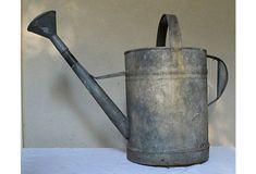 Large antique aluminum watering can