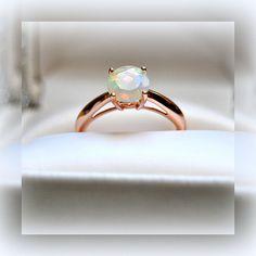 Brilliant Opal 14k Rose Gold Engagement Ring #Solitaire #Engagement