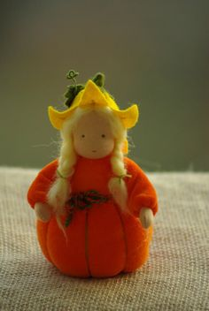 Pumpkin Flower child Waldorf doll Nature Table by TaleWorld
