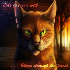 Warriors - Firestar by GoldenPhoenix100 on deviantART/ Cool, but the quote is Bluestar's prophecy.