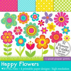 Happy Flowers - Digital paper and clip art set - 58 png images [oops I think I've incorrectly written on another of these fab. Photoshop Elements, Happy Flowers, Pretty Flowers, Flower Clipart, Print And Cut, Planner Stickers, Art Images, Party Supplies, Etsy