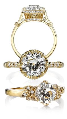 Engagement rings by Single Stone featuring antique Old European cut diamonds. Each ring is made by hand in L.A.