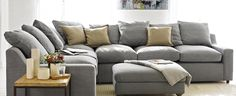 Cloud Corner Sofa in Magnesium washed cotton linen