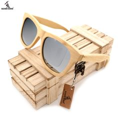 BOBO BIRD Men's Wooden Bamboo Sunglasses Polarized UV400 Protection Wood Glasses Frames With Colorful Lens In Wood Box #Affiliate