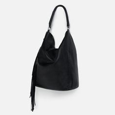 Image 2 of FRINGED LEATHER BUCKET BAG from Zara