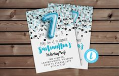 7th Birthday Invite | Blue Confetti Invite, Balloon Invitation, 7th Birthday Party, Seven Editable Invitation, Blue Glitter Invite #SelfEditableInvite #BalloonInvitation #TemplettBlueInvite #BlueGlitterInvite #GlitterInvite #TemplettEditable #ConfettiInvite #BlueConfettiInvite #CheapInvitations #EditableBlueInvite