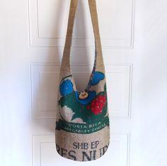 Burlap Coffee Sack Hobo Bag Large Sling Bag Vintage by 2LeftHandz, $40.00