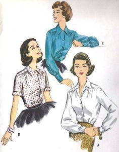 1950s Misses Blouse Vintage Sewing Pattern Easy by MissBettysAttic, $12.00