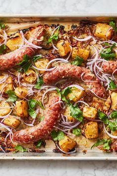 Sausages With Tangy, Gingery Pineapple Recipe - NYT Cooking Ham And Pineapple Pizza, Pineapple Recipes, Sausage Recipes, Pork Recipes, Cooking Recipes, Healthy Recipes, Sauces, Sheet Pan Suppers, Most Popular Recipes